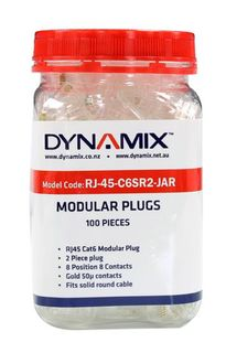 DYNAMIX Cat6 RJ45 Plug 100pc Jar  Model: RJ-45-C6SR2-JAR
